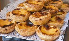 """The """"pastel de nata"""" is Lisbon's best-known cake and best served hot, with powdered cinnamon and, preferably, in pairs. Custard Tart, Portuguese Recipes, Portuguese Food, Appetisers, Freshly Baked, Sweet And Salty, Lisbon, Love Food, Food To Make"""