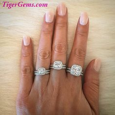 More cushion cut halo rings!  3/4 ctw, 1.25 ctw, and 2.25 ctw set are available now at TigerGems.com! ✨#handmade #wedding #girlsnight #diamondring #manmadediamond #weddingdress #fitness #frenchmanicure #engagementring #birthdaygirl #roses #anniversary #nails #powercouple #datenight #california #hubby #wifey #yoga #makeup #fitmom #quoteoftheday #proposal #bridal #tan #bridesmaid #bride #rings #tigergemstones