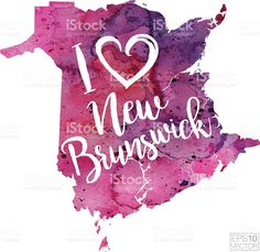 I Heart New Brunswick Vector Watercolor Map royalty-free stock vector art Map Vector, Free Vector Art, I Am Canadian, Watercolor Map, New Brunswick, Silhouette Cameo, Royalty, Christmas Ornaments, Holiday Decor