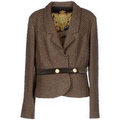 Class Roberto Cavalli Blazer ($145) ❤ liked on Polyvore featuring outerwear, jackets, blazers, khaki, brown tweed blazer, class roberto cavalli, brown jacket, multi pocket jacket and collar jacket