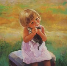 Donald Zolan Paintings of Heartwarming Childhood Moments. His work celebrates the joy of childhood, with all its wonders, innocence, and love, showing the joy. Recalling the sun-kissed days of childhood summers with these heartwarming Childhood Dreams Baby Painting, Painting For Kids, Children Painting, Art Children, Cute Paintings, Beautiful Paintings, Oil Paintings, Watercolor Paintings, Artists For Kids
