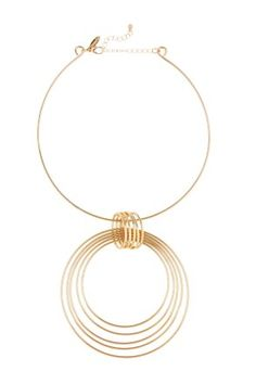Natasha Accessories Gold-Tone Collar Circle Pendant Necklace