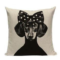 Home Textile Lovely Animals Pet Dog Puppy Cat Pattern Cushion Cover For Sofa Home Decor Almofadas 18 Inch Decorative Throw Pillows Case Jade White Home & Garden