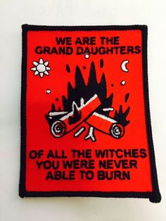 We are the Grand Daughters Of All the Witches You were Never Able to Burn  3x4 B&W thread on red  Inspired by feminist around the globe, my