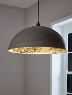 Oversized Grey & Gold Domed Pendant