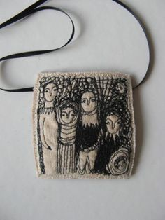 ** I love the look of free-motion embroidery. Animals and birds or plant life would be just as interesting ** embroidered pendant - Cathy Cullis Textile Jewelry, Fabric Jewelry, Jewelry Art, Jewelry Design, Jewellery, Fabric Decor, Fabric Art, Fabric Crafts, Embroidery Designs