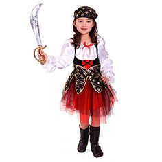 Deguisement Enfant Costume Halloween fille robe Pirate des Caraibes rouge | Your #1 Source for Toys and Games