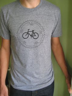 Chainring and Bicycle TShirt Heather Gray Track Tshirt by garbella, $24.00  Always looking for new ideas for Jeff.