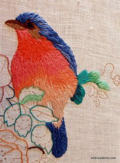 Embroidered bird in progress