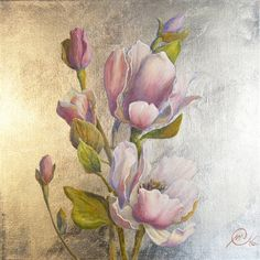 ORIGINAL Silvered metal thin. 40 x 40 cm.linen canvas oil paiting https://www.etsy.com/listing/269614279/flower-magnolia-silver-original-oil?ref=related-3