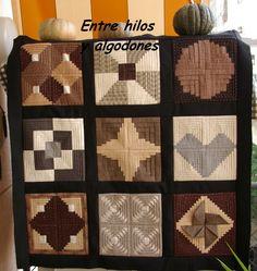Tapiz de almazuelas Log Cabin Quilts, Quilt Tutorials, Pineapple, Patches, Blanket, Scrappy Quilts, Tela, Hand Made, Blue Prints