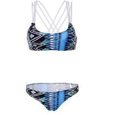 Blue Tribal Print Multi Strap Cross Back Top Triangle Bikini ($18) ❤ liked on Polyvore featuring swimwear, bikinis, bikini, beach, swimsuit, triangle swim suits, swim suits, bikini swimsuit, bathing suits bikini and blue bathing suit