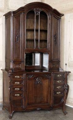 Antique Louis XV Walnut China Buffet #antique #buffet #antiquefurniture