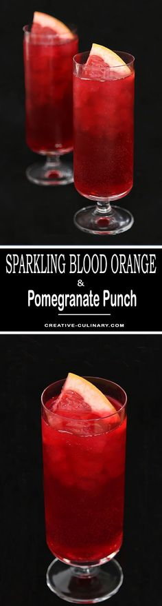 Sparkling Blood Orange and Pomegranate Punch is a stellar addition to a holiday gathering. Perfect from Fall through the New Year, it's easy and delicious. via @creativculinary