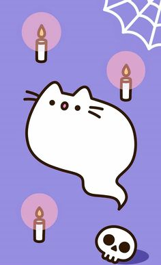 Chat Kawaii, Kawaii 365, Kawaii Cute, Fall Wallpaper, Kawaii Wallpaper, Halloween Backgrounds, Halloween Wallpaper, Gato Pusheen, Pusheen Birthday