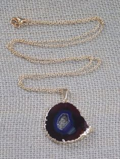Agate Necklace on Gold Filled Chain agate slice by MalieCreations