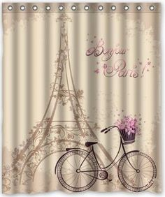 "Custom Frech Paris Eiffel Tower City of Love Retro Classical Shower Curtain 60"" x 72"" - Bathroom Decor(Fabric): Amazon.co.uk: Kitchen & Home"