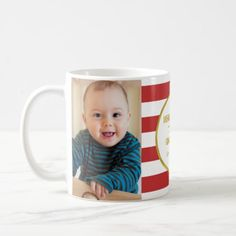 Red Stripes Gold Photo Best Grandma Christmas Coffee Mug - modern gifts cyo gift ideas personalize