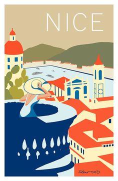 Nice, France vintage travel poster