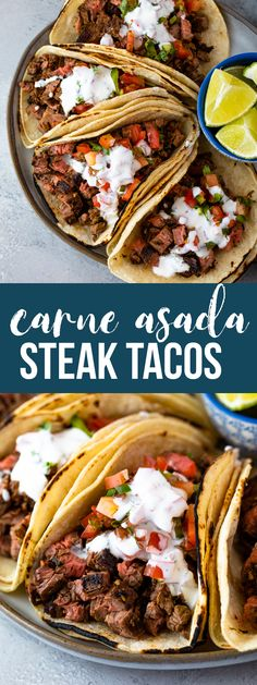 Carne Asada steak tacos are loaded with juicy grilled steak packed into warm tortillas and topped with tangy fresh tomato salsa and topped with a light drizzle of sour cream and lime. These delicious tacos are bursting with flavor and texture and are made in under 30 minutes with just a few fresh ingredients.