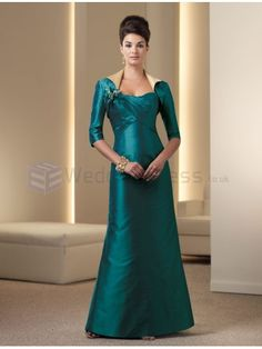 A-line Silk Shantung Crisscross Pleated Empire Bodice Softly Curved Neckline Mother of the Bride Dress