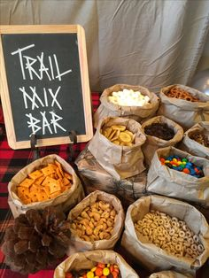 Trail mix bar for fall birthday or woodland theme party camping, wreaths, bestfriend ideas, halloweenThe post Awesome DIY Camping Birthday Party Ideas for Kids appeared first on Dekoration. Lumberjack Birthday Party, Fall Birthday Parties, Baby Birthday, Birthday Ideas, First Birthday Camping Theme, Country Birthday Party, Fall Themed Parties, Cowboy Theme Party, Fall Party Themes