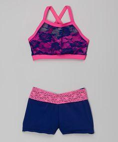 Elliewear Pink & Blue Lace Crop Top & Shorts - Girls by Elliewear #zulily #zulilyfinds