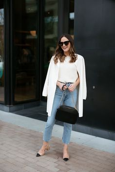 A classic outfit for spring featuring the J.Crew Juliette sweater-blazer, AGOLDE Riley jeans and cap-toe slingbacks. Classic Outfits, Chic Outfits, Spring Outfits, Fashion Outfits, Work Outfits, White Blazer Outfits, All White Outfit, Southern Marsh, Southern Tide