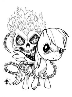 Ghost Rider Riding My Little Pony Coloring Page