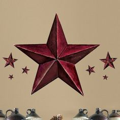 Room Mates Peel and Stick Giant 18 Piece Barn Star Wall Decal Color: Burgundy