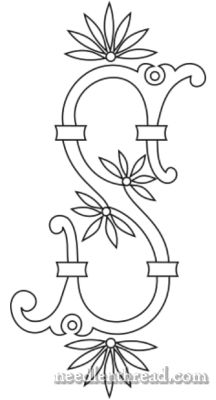 Monograms for Hand Embroidery: Fan Flowers P – W – Needle'nThread.com