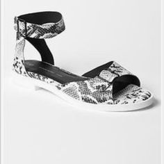 """Super cute faux snakeskin ankle strap sandals New with tags. Ankle strap sandals. Genuine leather but faux snakeskin. About 1"""" flat   Comfy! Unique! White and black GAP Shoes Sandals"""