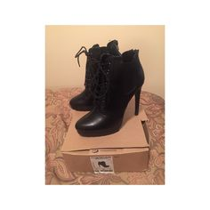 Black Lace Up Booties Worn a couple of times. In perfect condition minus minor scuffs on the insides of the shoes as shown. Barely noticeable. Eur 38 Zara Shoes