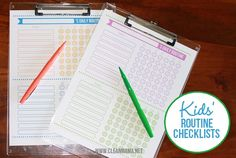 "Free Kids Routine Checklists - via ABFOL / I combined the charts to make 3 colored sets.  Once is MORNING routine, next is AFTER SCHOOL routine and last is EVENING?BEDTIME routine.  I put them in  plastic cover sheets (the kids used for ringbinders) and the kids use dry erase markers to ""X"" off what was done.  If they complete EVERYTHING they get $2 a week"