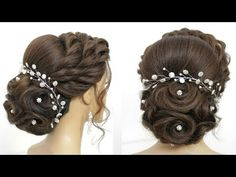 Short Messy Updo with Headband Braid - 60 Gorgeous Updos for Short Hair That Look Totally Stunning - The Trending Hairstyle Prom Hairstyles For Long Hair, Short Hair Updo, Down Hairstyles, Wedding Hairstyles, Bridal Hairstyles With Braids, Updo Hairstyle, Updo Tutorial, Bridal Hair Buns, Bridal Updo