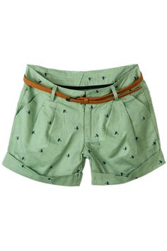#ROMWE Cat Print Belted Green Shorts