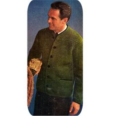 This mens long sleeve cardigan jacket pattern is crocheted in knitting worsted. It features a slightly chunky design, six button closure, long sleeves and patch pockets ... a keeper for sure.