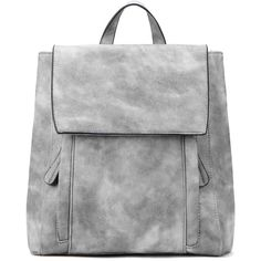 Yoins Grey Backpack with Two Front Pockets (165 RON) ❤ liked on Polyvore featuring bags, backpacks, yoins, bolsos, grey, grey bag, backpack bags, leather bags, gray leather backpack and real leather backpack