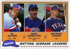 1981 Topps Rangers Batting Leaders, Al Oliver, Josh Hamilton, Michael Young, Texas Rangers, Baseball Cards That Never Were.