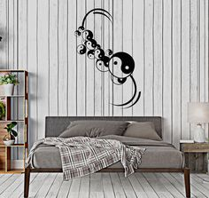 Vinyl Wall Decal Yin Yan Amulet Bedroom Chinese Philosophy Asian Art Stickers (135ig)