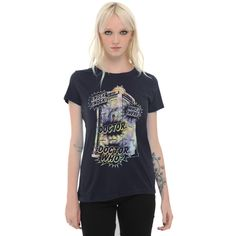 Hot Topic Doctor Who Watercolor TARDIS Girls T-Shirt (£14) ❤ liked on Polyvore featuring tops, t-shirts, navy blue t shirt, crewneck tee, crew t shirts, navy blue crew neck t shirts and crew neck tee