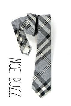 Men NeckTie- Wool Plaid Balck and Grey neck tie  Men ties preppy style. $44.00, via Etsy.