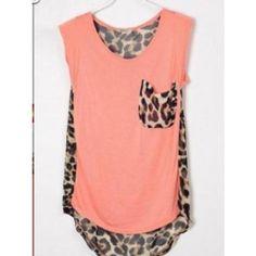 $24.00  Fresh Leopard Pocket Shirt   Size:length:63-75cm,bust:82-92cm,waist:88-98cm
