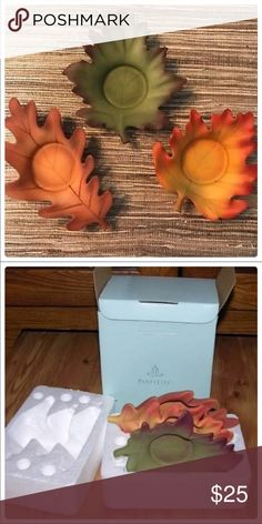 "Partylite whispering leaves tea light trio Whispering Leaves Candle Holder Trio #P8535U . Includes three porcelain tealight holders, each in a different leaf shape and color. They make a beautiful fall and harvest decorations. These holders are new in origina box.  There are no cracks or chips on these tealight candle holders. To give you an idea of the size, the green leaf measures approximately 5-1/4"" x 4-1/2"".  Can hold ball candles, small pillars but are not included partylite Accents… Tea Light Candles, Tea Lights, Harvest Decorations, Tealight Candle Holders, Leaf Shapes, Tea Light Holder, Chips, Porcelain, Leaves"