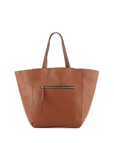 0fc4849152 Neiman Marcus Hip Zip Faux-Leather Tote Bag