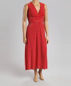 Look what I found on #zulily! Fuchsia & White Polka Dot Scoop Neck Dress - Plus by Star Vixen #zulilyfinds