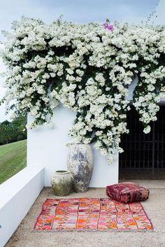 White bougainvillea blooms pair perfectly with colorful kilim textiles for a bohemian outdoor picnic locale Garden Concept Outdoor Rooms, Outdoor Gardens, Outdoor Patios, Outdoor Seating, Outdoor Living, Rue Verte, White Gardens, Dream Garden, Garden Inspiration