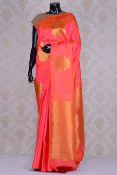 Pure Kanchipuram Silk-Neon Pink,Orange Dual Tone-WG203423 - PURE HANDLOOM SILK SAREE - Sarees