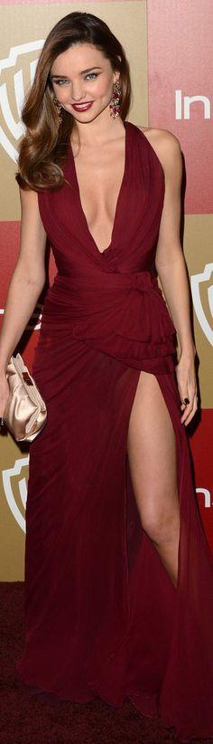 Miranda red carpet fashion long dress #sexy #red