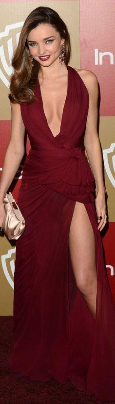 Miranda red carpet fashion long dress #sexy #red